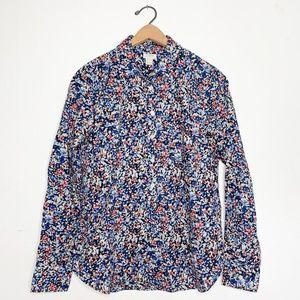J. Crew Floral Cotton Button Down Women's Blouse